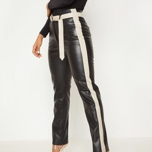 Pretty little thing faux leather side stripe pant